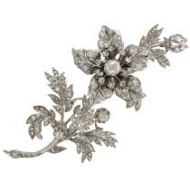 """French 19th Century Flower Diamond White Gold Silver """"Trembleuse"""" Brooch"""