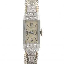 French ladies Platinum Diamond Art Deco manual Wristwatch, 1930s