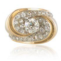 French 1940s Retro 1.50 Carat Diamond Platinum Yellow Gold Tank Ring