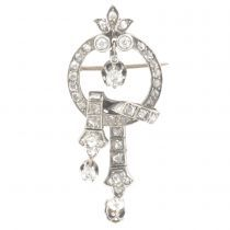 French 1850s Antique Diamonds Brooch and Pendant