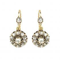 Boucles d'oreilles dormeuses anciennes diamants