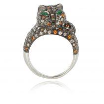Modern Blackened Silver Zircons Yellow Sapphire Emerald Cat Ring