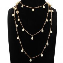 Sautoir argent et or rose perles de culture cristaux et camée