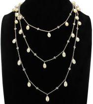 Sautoir argent et or blanc perles de culture cristaux et camée