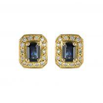 Boucles d'oreilles saphirs et diamants or jaune