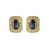 Yellow gold sapphire and diamond earrings