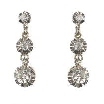 Boucles d'oreilles trembleuses diamants platine or