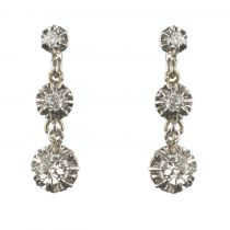 Boucles d'oreilles trembleuses diamants platine or