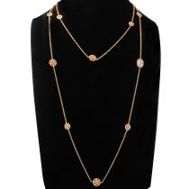 Italian Rose Vermeil Chiseled Rounded Motifs Cameo Long Necklace