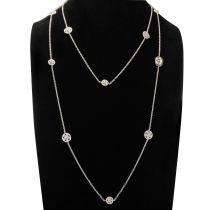 White Vermeil and Chiseled Rounded Motifs and Cameo Long Necklace
