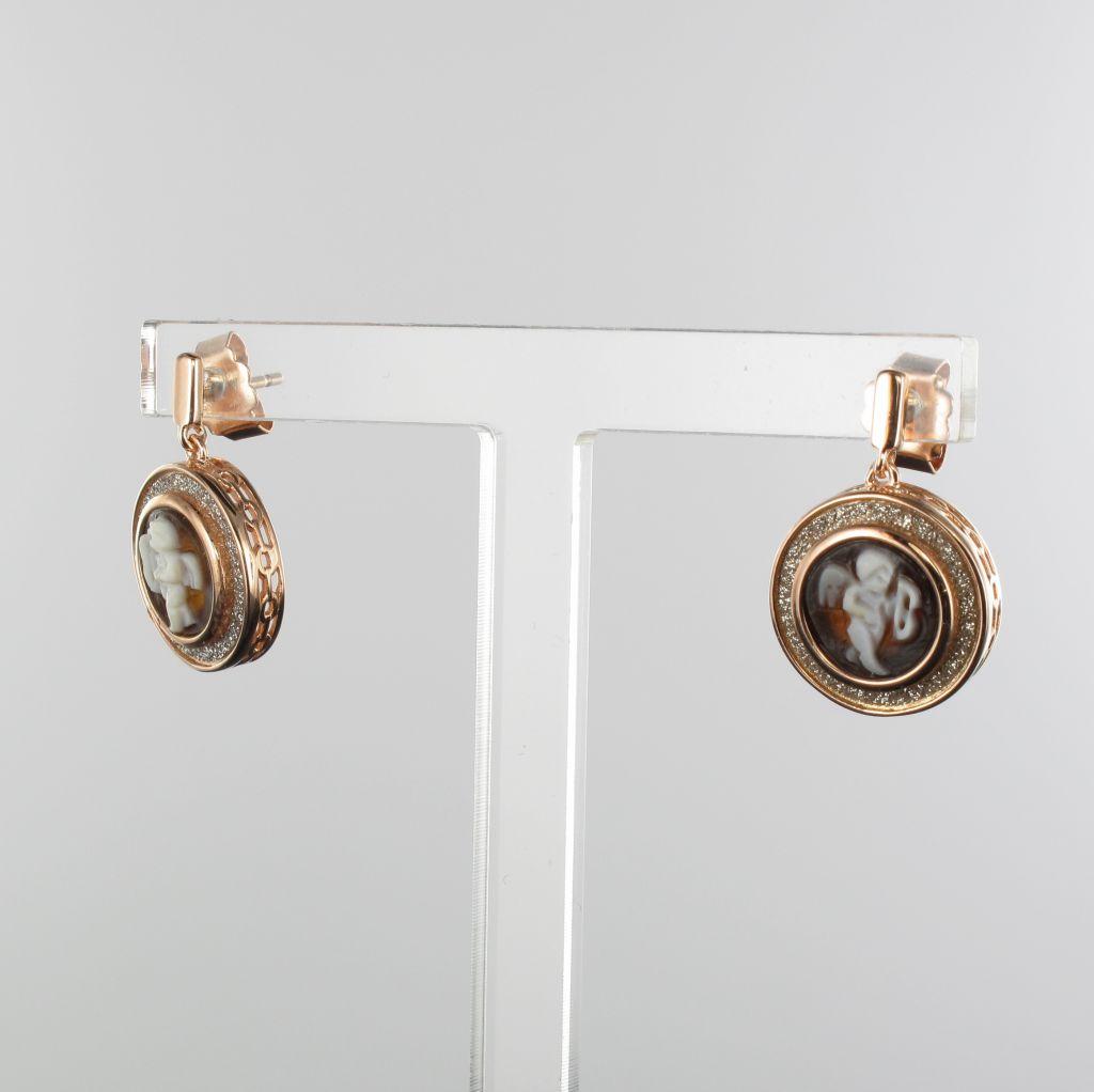 Boucles d'oreilles camée cupidon et cristaux