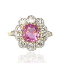 French 2.25 Carat Pink Sapphire 1.77 Carat Diamond Platinum Gold Cluster Ring