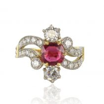 French 19th Century Style 1.09 Carat Cushion Cut Ruby Diamond Ring