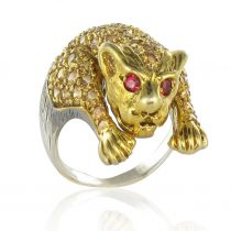 Yellow sapphire panther ring