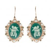Boucles d'oreilles camée angelot perles et cristaux