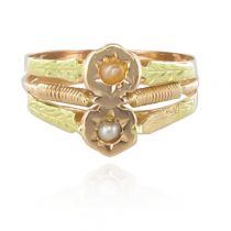 19th Century Rose and Green Gold Natural Pearl Ring