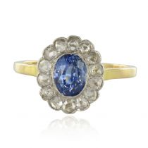 French 19th Century Sapphire Diamonds Cluster Ring