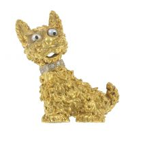 1960s Retro 18 Karats Yellow Gold Dog and His Diamond Necklace Brooch