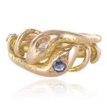 19th Century 18 Karats Yellow Gold Sapphire Diamond Snake Ring