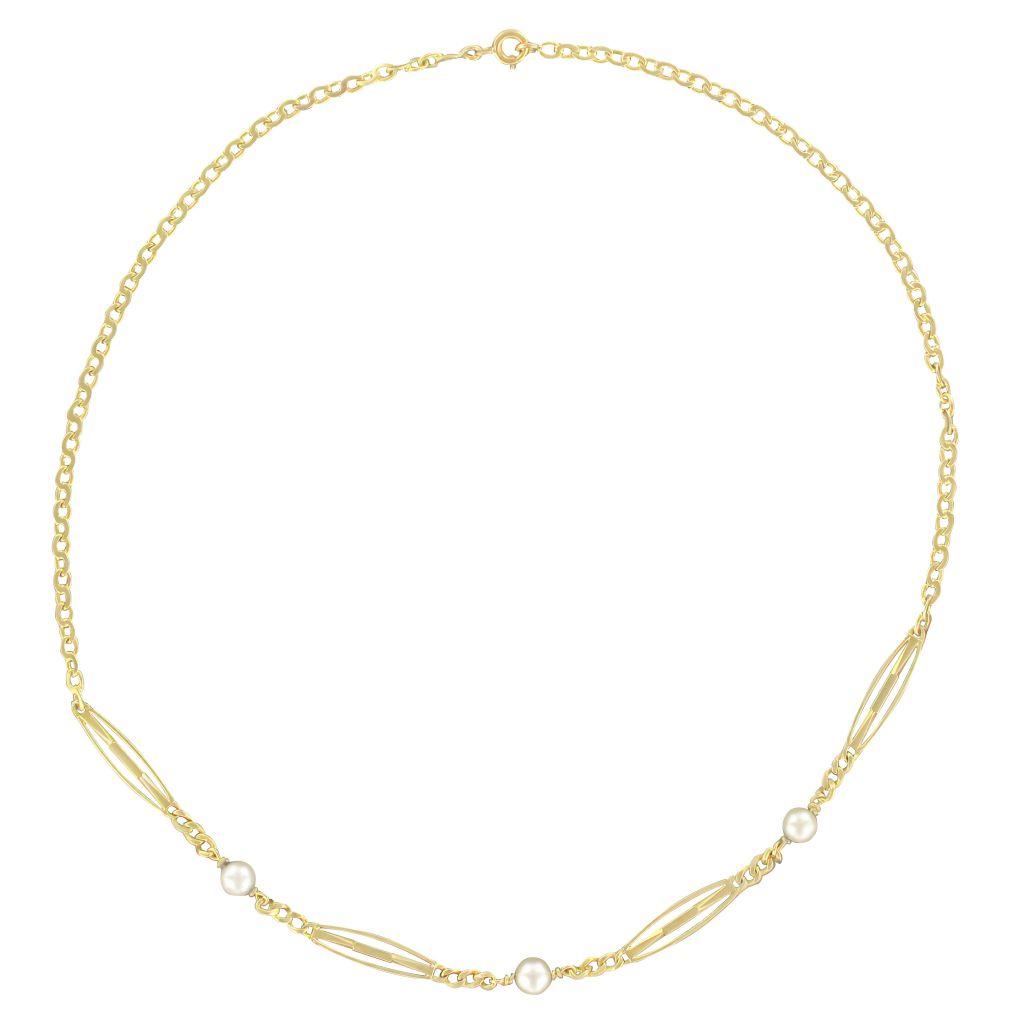 Collier chaine ancien or jaune et perles