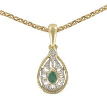 Modern second- hand emerald gold pendant
