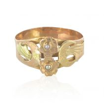 19th Century Rose and Green Gold Fine Pearl Ring