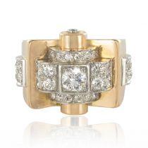 1950's Brillant Cut Diamond Platinium Yellow Gold Tank Ring