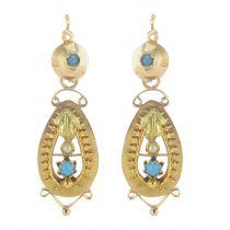 Pendants d'oreilles anciens perles fines et turquoises