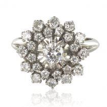 French 1960s Retro Cluster 18K White Gold 1.13 Carat Diamond Ring