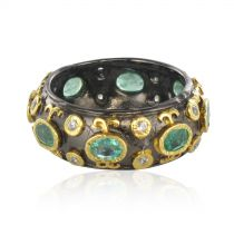 New Emerald White Topaz Black Rhodium Silver Band Ring by Baume