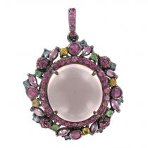New Pink Quartz Pink Yellow Sapphires Topaz Garnets Silver Pendant Necklace