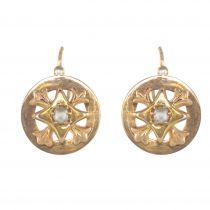 French 19th Century 18 Karat Rose Gold Natural Pearl Drop Earrings