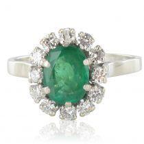 French Retro 1960s Emerald Diamond White Gold Pompadour Engagement Ring