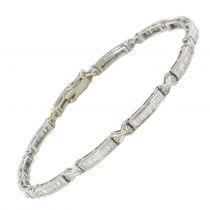 3 Carat Brilliant and Baguette Cut Diamond White Gold Bracelet