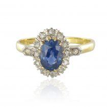 French 19thCentury Napoleon 3 Sapphire Diamond Pompadour Engagement Cluster Ring