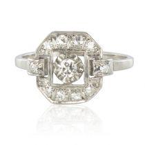 French 1930s Platinum Diamond Art Deco Ring