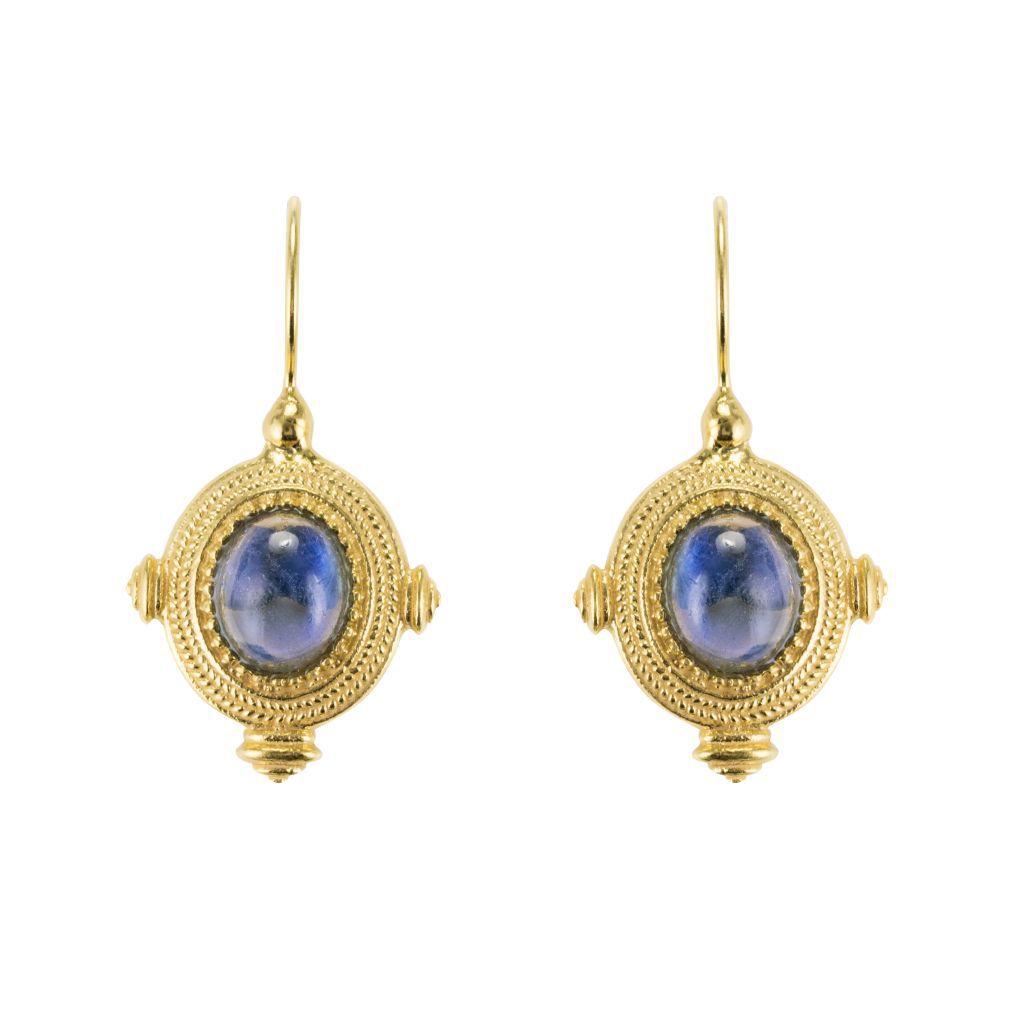 Boucles d'oreilles Étrusques Cristal bleu