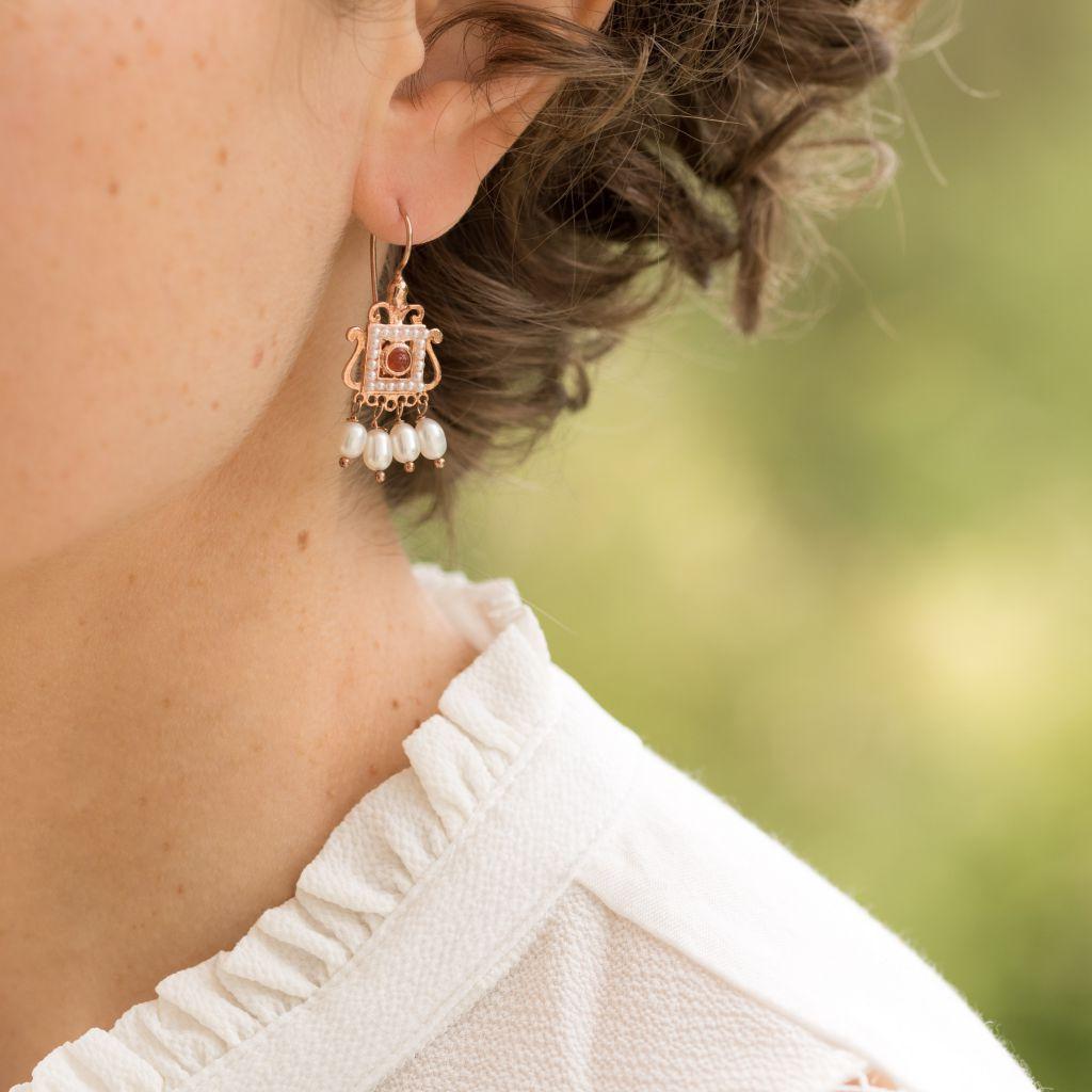 Boucles d'oreilles esprit Renaissance Cornaline