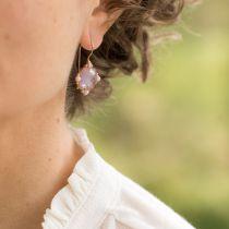 Boucles d'oreilles cristal rose et perles