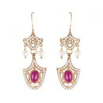 Boucles d'oreilles pendantes vermeil perles