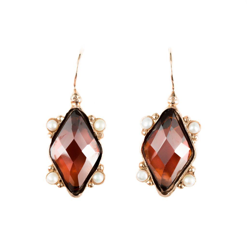 Boucles d'oreilles losange cristal et perles