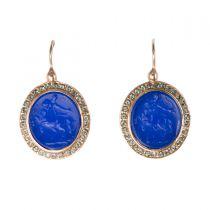 Dormeuses intailles et cristaux pierre bleue
