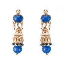 Boucles d'oreilles pendante pierre bleue et perles