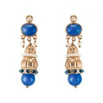 Blue stone and pearl pendant earrings