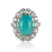 Bague marguerite turquoise diamants or blanc