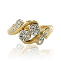 Bague ancienne or diamants taillés en rose