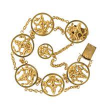Bracelet en or motifs indiens