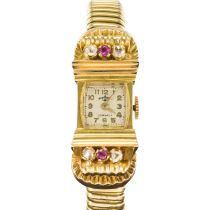 1940's Ruby diamonds and gold tubogas mechanical watch