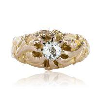 French 19th Century Napoleon 3 18 Karat Rose Gold 0.60 Carat Diamond Man Ring