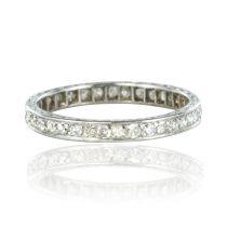 French 1930s Art deco Platinum Diamond Wedding Band Ring